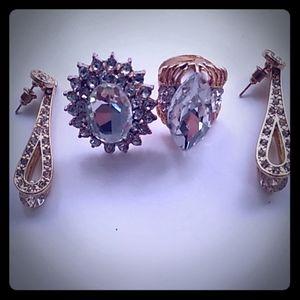 2 Designer Ring and 1 Golden set of an earring